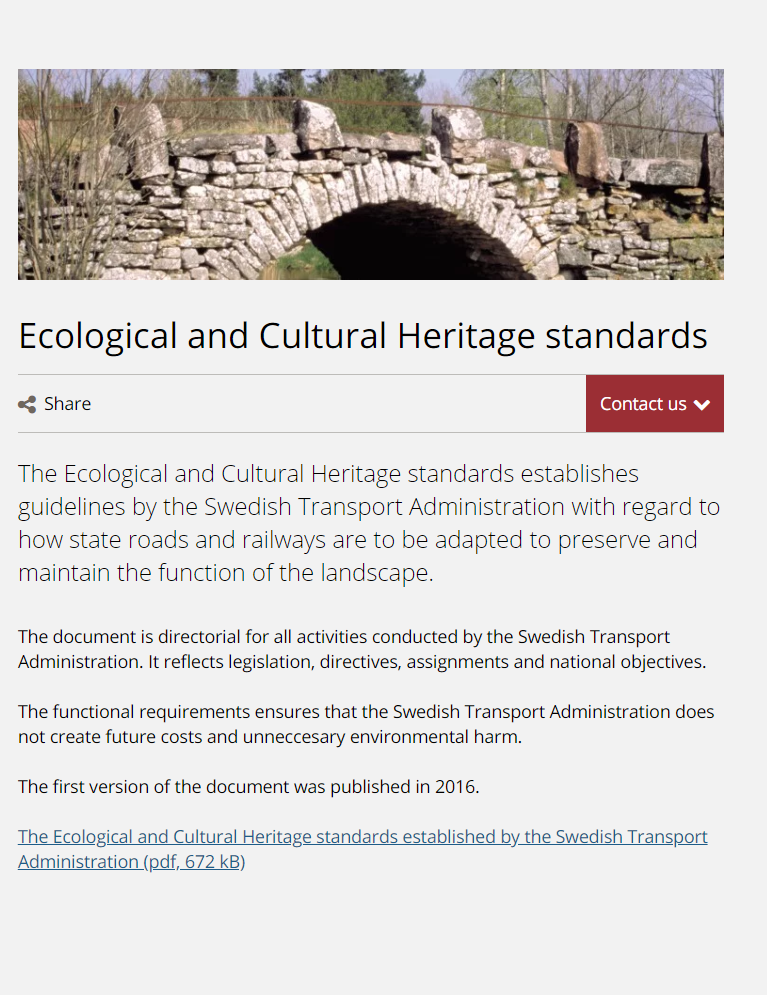 The Ecological and Cultural Heritage standards. Trafikverket