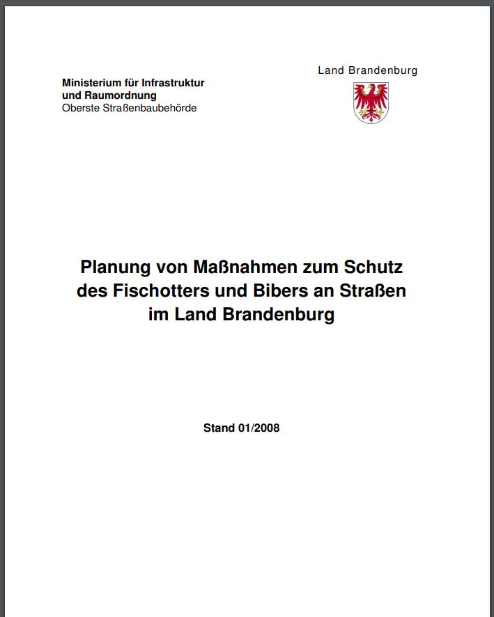Planung von Maßnahmen zum Schutz des Fischotters und Bibers an Straßen im Land Brandenburg. Ministerium für Infrastruktur und Raumordnung