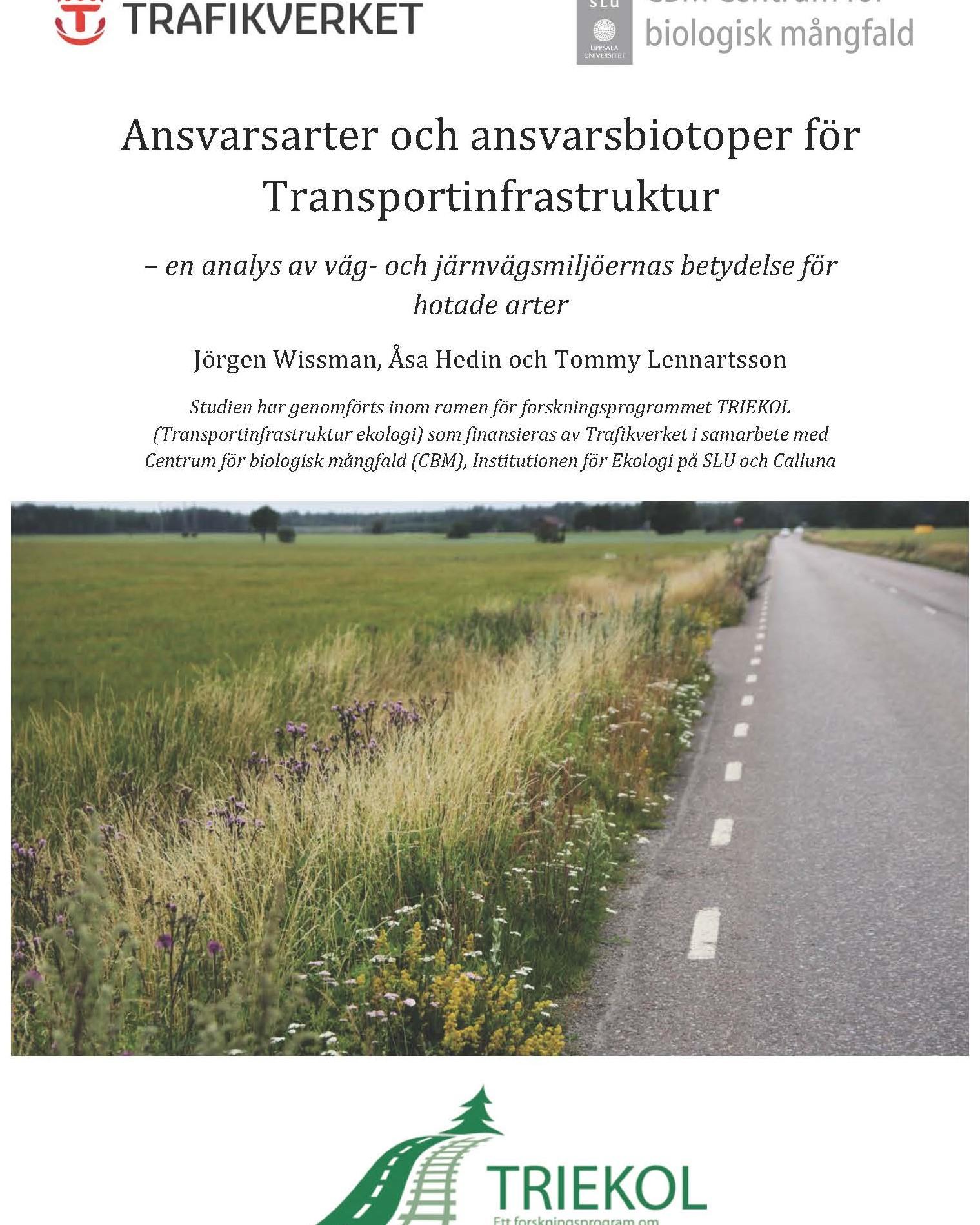Ansvarsarter och ansvarsbiotoper för Transportinfrastruktur. Trafikverket