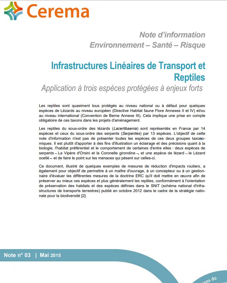 Infrastructures Linéaires de Transport er Reptiles. Cerema