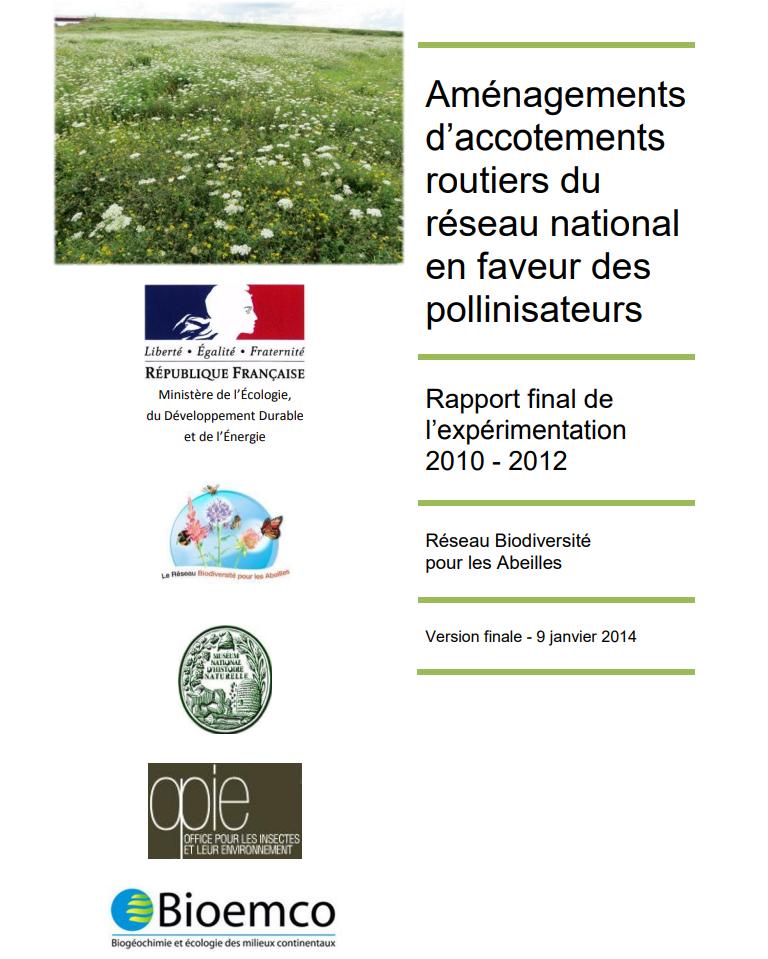 Aménagements d'accotements routiers du réseau national en faveur des pollinisateurs. Ministry of Ecology, Sustainable Developement and Energy
