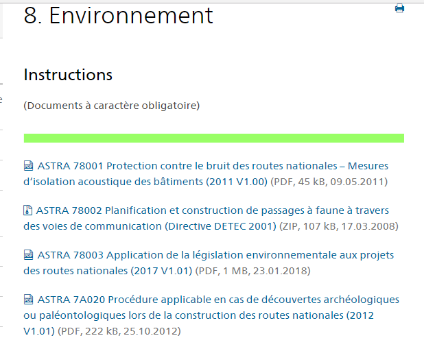 Swiss environmental standards for roads. Office fédéral des routes (OFROU/ASTRA)