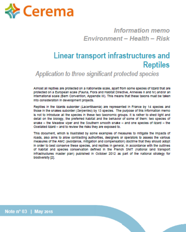 Linear transport infrastructures and reptiles. Cerema